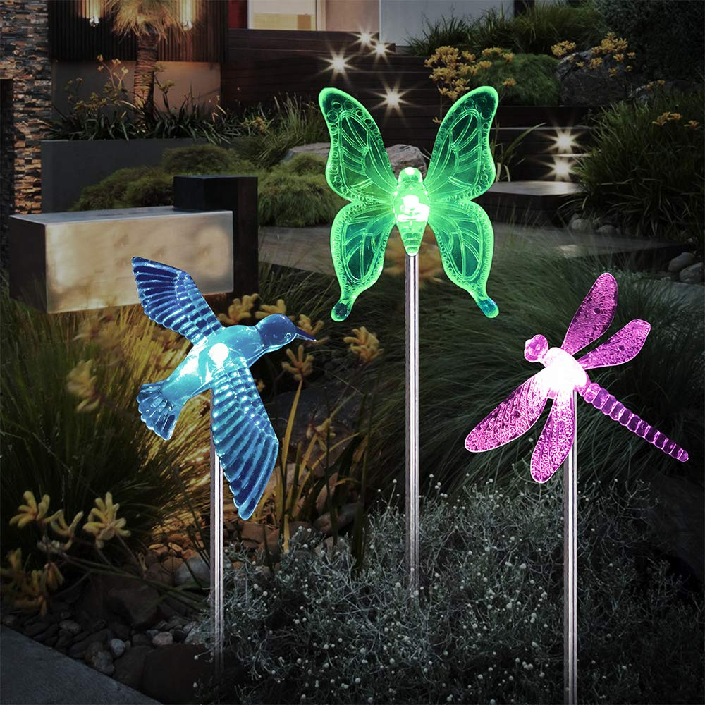 Landscape Lighting Path Lights Solar Garden Stake Lights Outdoor Decorative Garden Stakes Color Changing Solar Powered LED Pathway Lights for Lawn Garden Yard