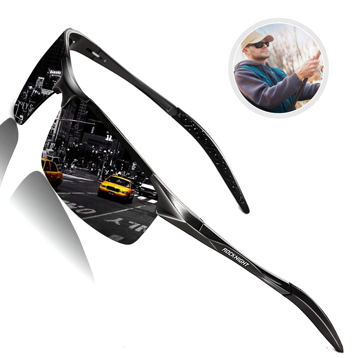 ROCKNIGHT Mens Sunglasses Polarized UV400 Sunglasses for Hiking Rimless Sunglasses for Men Sports Sunglasses Al-Mg Metal Outdoor Fishing Golf by ROCKNIGHT