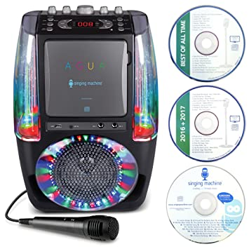 Singing Machine SML605BK AGUA Dancing Water Fountain Bluetooth Karaoke  System with LED Disco Lights, Wired Microphone and 3 CD's - Black