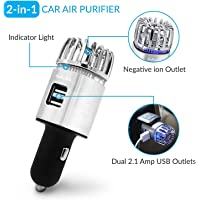 Car Air Purifier, Ionizer Deodorizer and Ionic Air Freshener with Dual USB Charger| Remove Dust, Pollen, Smoke, Food…