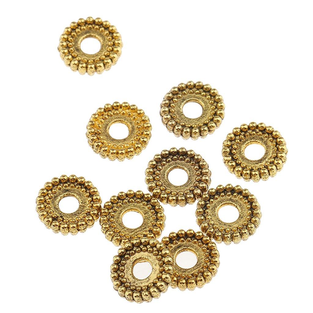 MagiDeal 100 Pi/è ces Perles Despacement M/é talliques Bricolage Artisanat Bracelet Collier Or 6mm