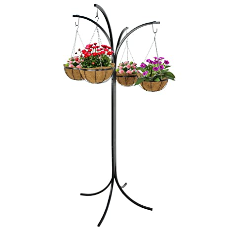 ZENY 4 Basket Arm Tree Hanging Patio Stand Rack, Space Saving Plant Planter,