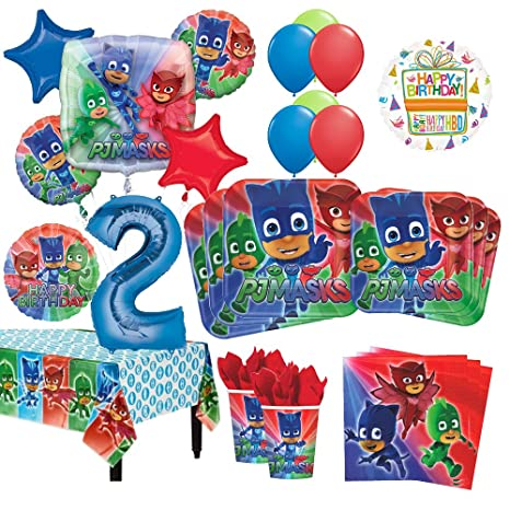 Mayflower Products PJ Masks 2nd Birthday Party Supplies 8 Guest Kit and Balloon Bouquet Decorations