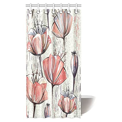 InterestPrint Floral Shower Curtain Tulip Petals With Minimalist Faded Effect Artsy Image Fabric Bathroom