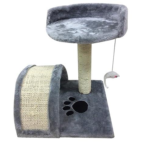 Árbol para Gato con Rascador Casitas y Cuerda de Juguete para Gatos, Color Gris