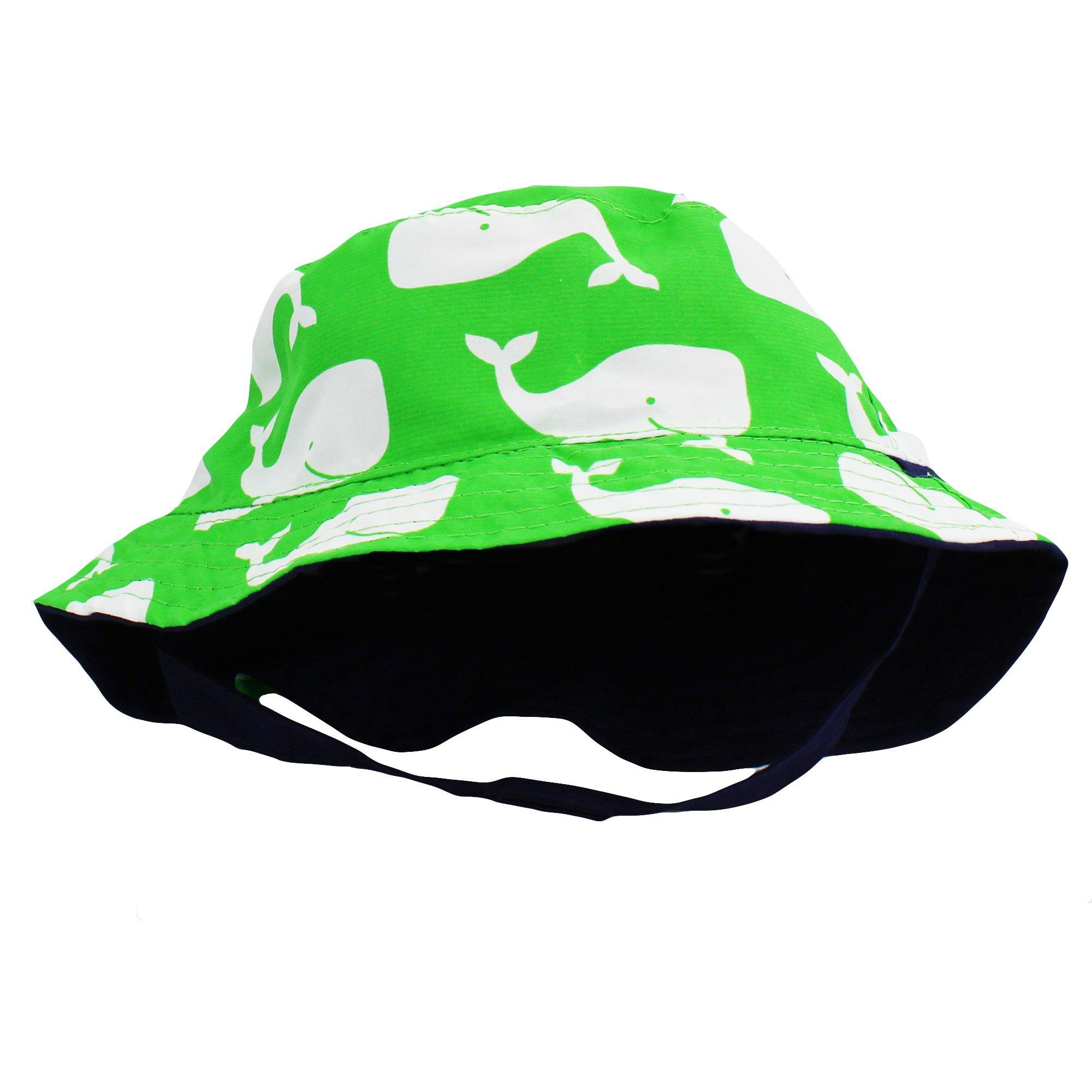 Little Me Reversible Green Whale Solid Navy Infant Boys Bucket Sun Hat 12-24M