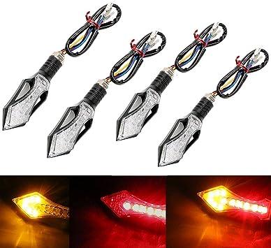 4 frecce moto,12 LED indicatori di direzione del moto,Lampeggiante Indicatori di Moto Indicatori di Direzione,Luce gialla e luce blu,frecce led moto universale per la maggior parte di moto