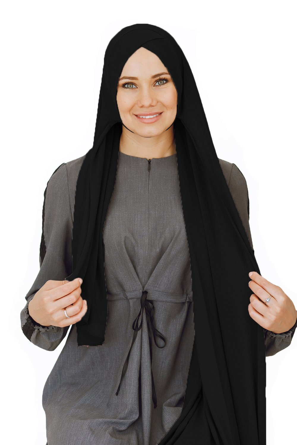 Cotton head scarf, instant black hijab, ready to wear muslim accessories for women (Black) by VeilWear (Image #4)