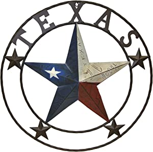 Metal Texas License Plate Circle with Star