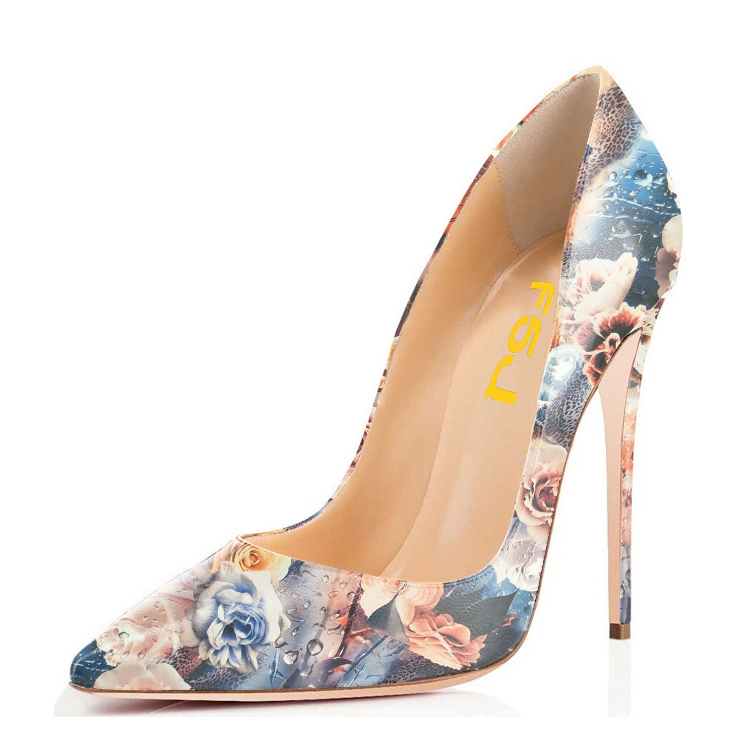 FSJ Women Fashion High Heel Stilettos Pointed Toe Pumps Evening Dress Printed Shoes Size 4-15 US B07DR9NG74 4 B(M) US|Floral Print