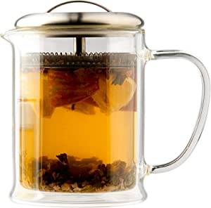 casaWare 15-Ounce Double Wall Borosilicate Glass Tea pot with Strainer Lid