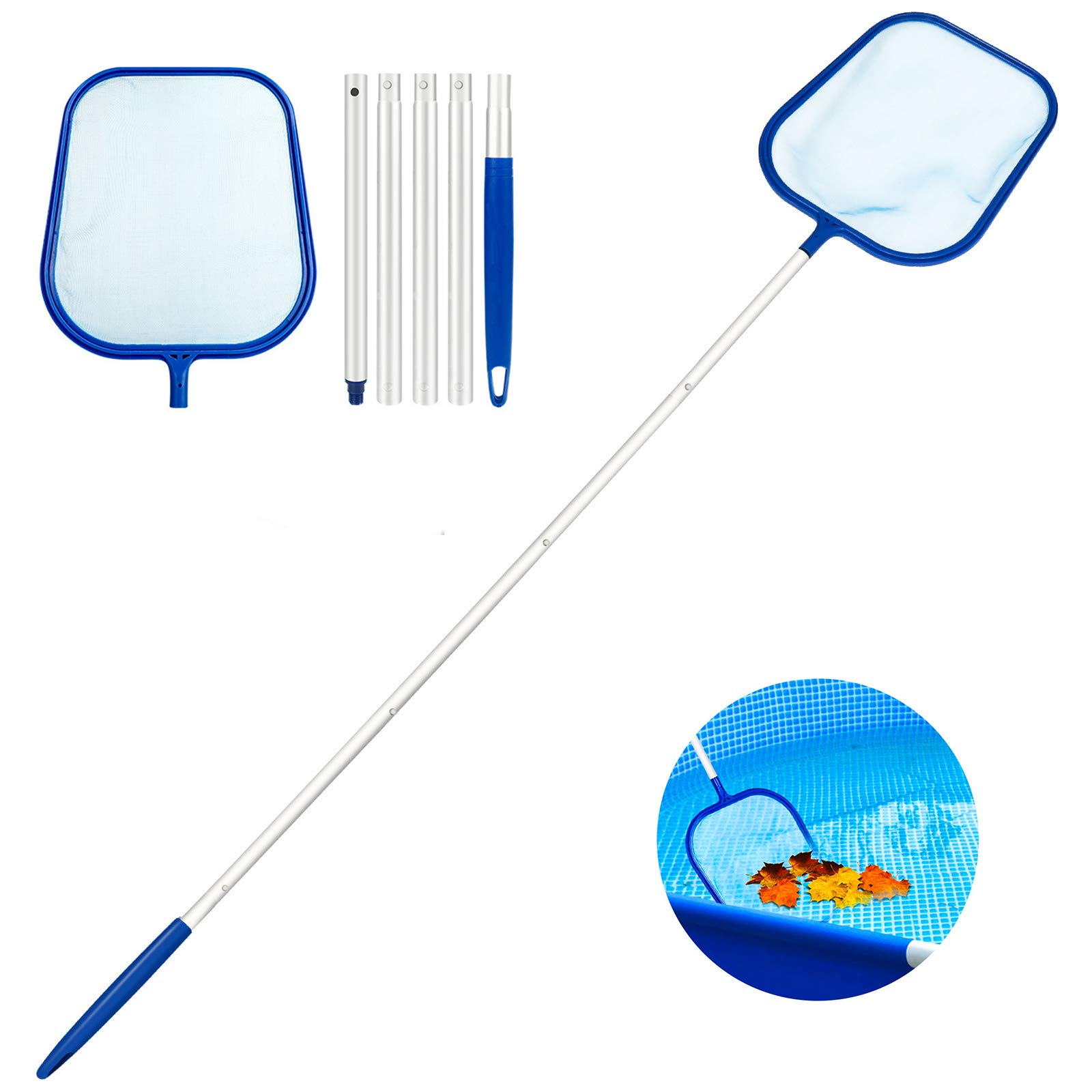 Familybox Leaf Skimmer Pool Loading Fine Mesh Net with Detachable Telescopic Pole, Hot Tub Cleaning Kit Accessories for Swimming Pool, Garden Pond, Fountain & Fish Tank