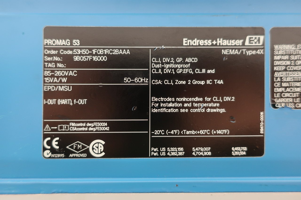 ENDRESS Hauser 53H50-1F0B1RC2BAAA PROMAG 53 Flow Transmitter 85-260V D601121: Amazon.com: Industrial & Scientific