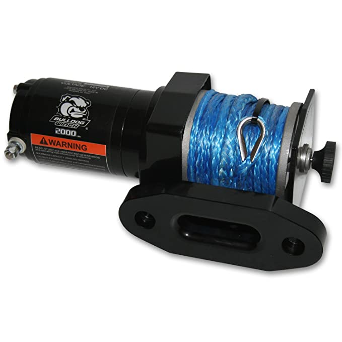Bulldog Winch 15012 Winch 4000lb UTV//Utility with 50 Ft Synthetic Rope, CNC Billet Aluminum Hawse Fairlead, mounting Plate.