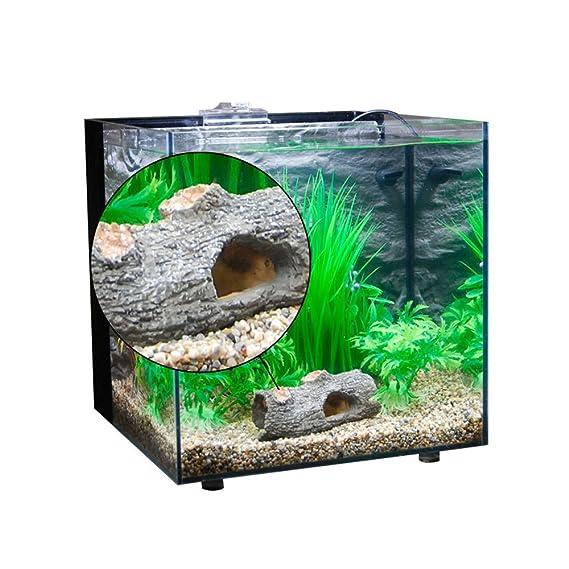 Amakunft adorno de acuario, pecera de resina para decoración de tronco, árbol de madera de deriva con cueva, cuevas acuáticas para peces Betta, ...