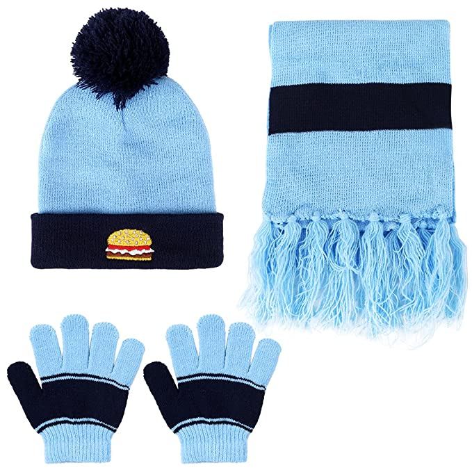 eb2ea9b615e2b Amazon.com  Vbiger Knitted Hat Scarf And Gloves Set For Kids (Blue)   Clothing