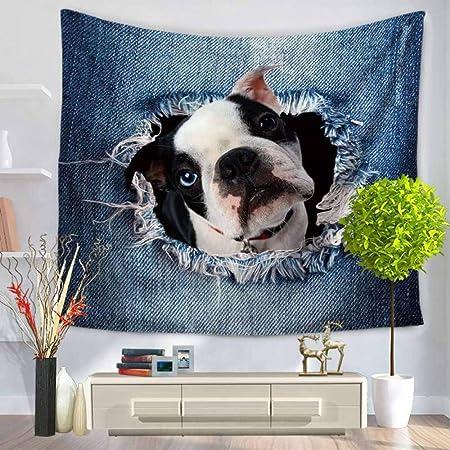 zhj888 3D Animal Pug Cat Tapiz Colgante De Pared Bohemio ...
