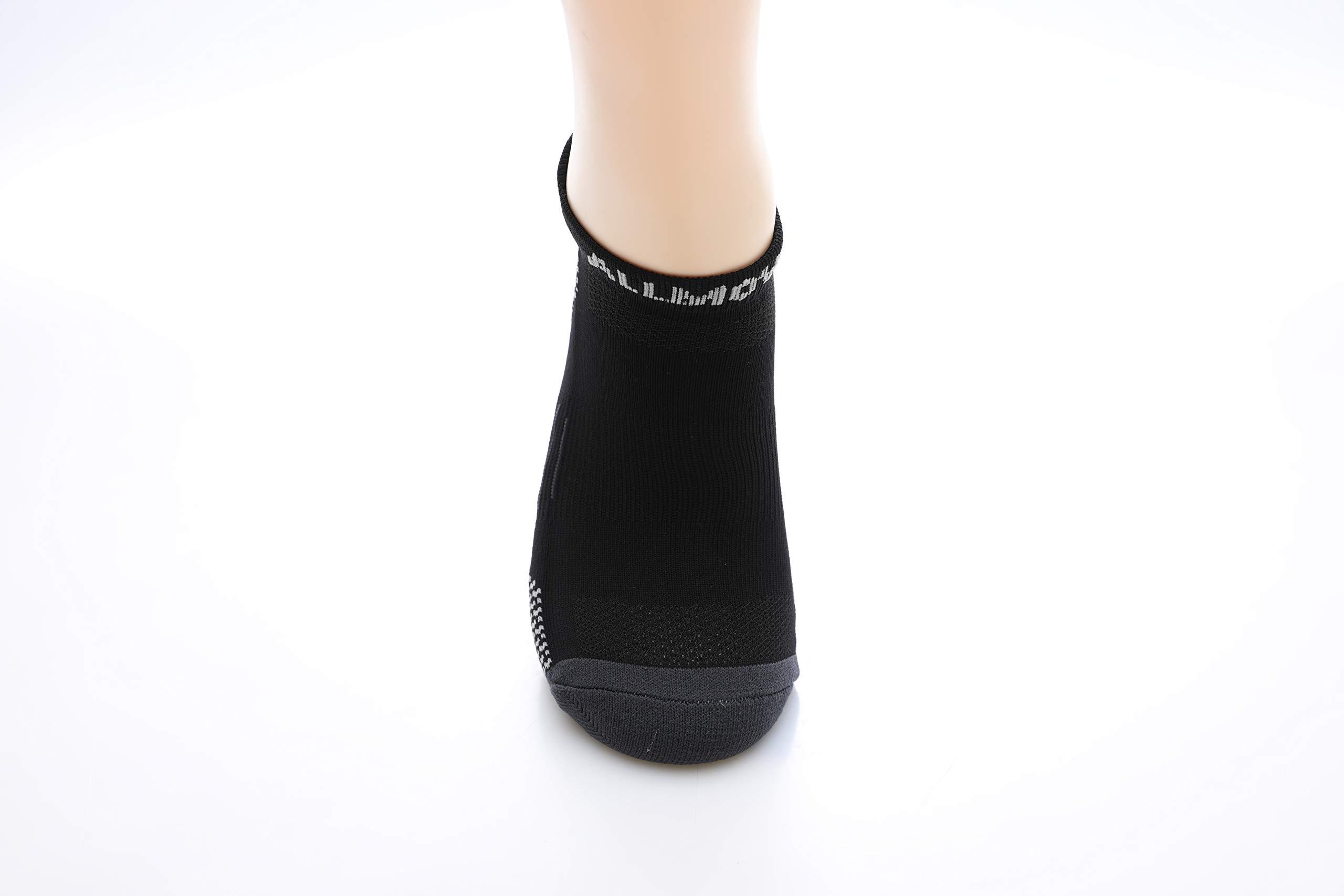 RuRu Monkey Mens No show Sport Socks, Moisture Control, Arch Support (Black and Grey 6Pair)