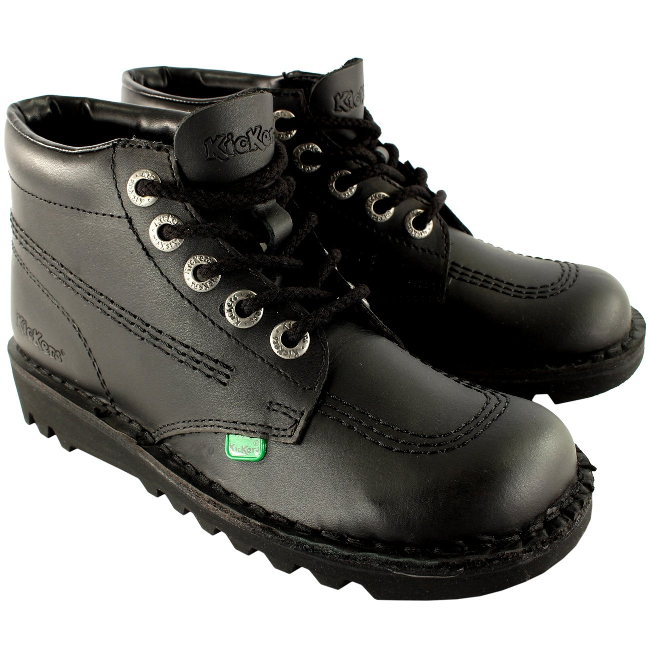 Kickers Mens Kick Hi Leather Classic Oxfords Office Work Boots Shoes - Black/Black - 8.5