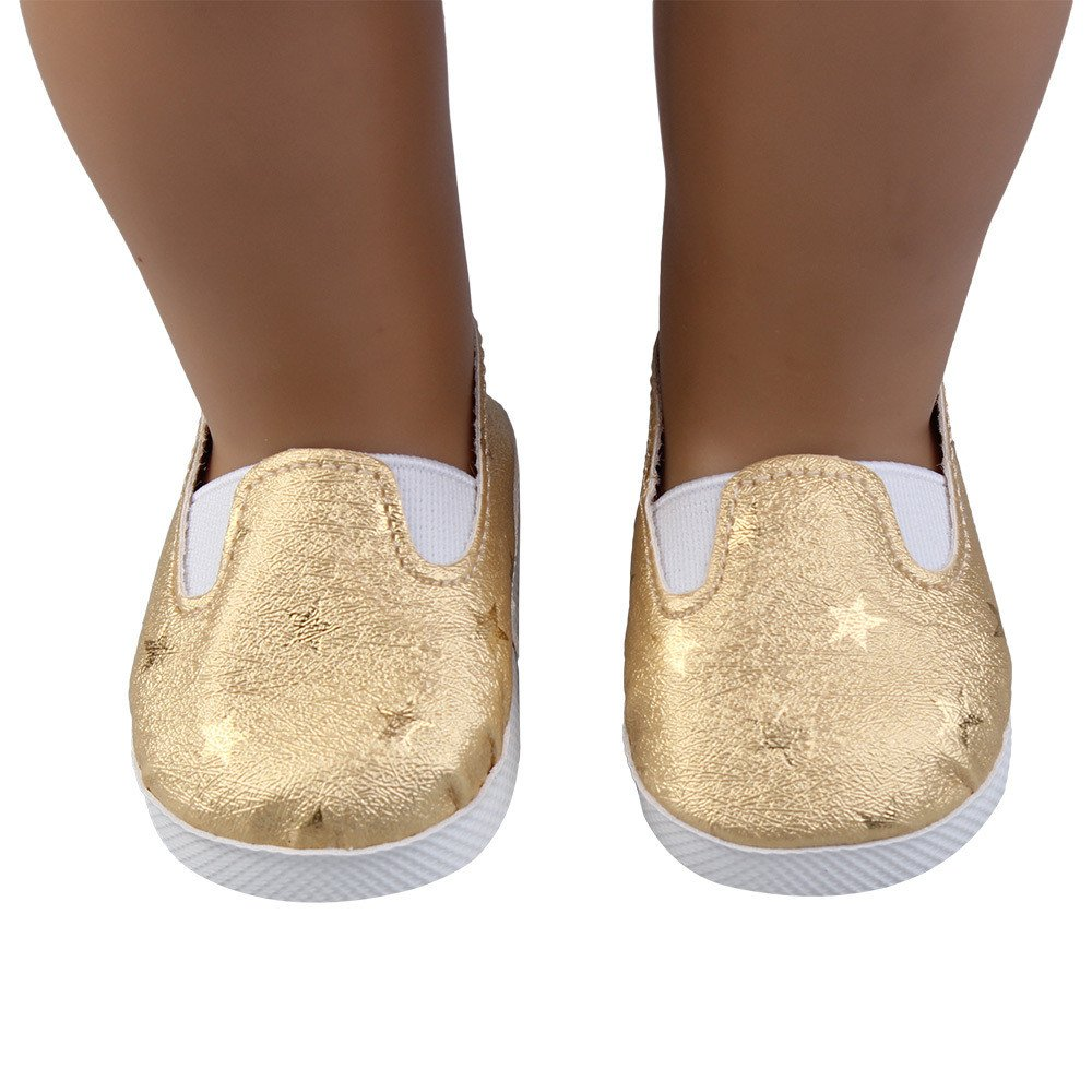 Goldene Puppe fü nfzackiger Stern einzelne Schuhe fü r American Girl Schuhe (ohne Puppen), Malloom Glitter Doll Shoes Star Dress Schuh fü r 18 Zoll Unsere Generation fü r American Girl Doll Malloom-Bekleidung