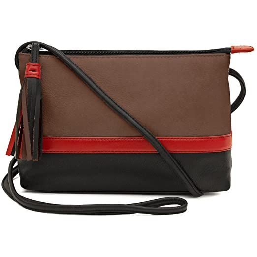 daf7d5f95ea2 Amazon.com  Leather Colorblock Cross-body Handbag (Toffee Red Black ...