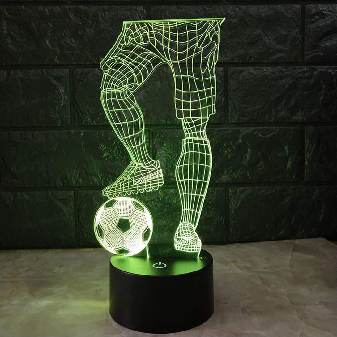 Swiftswan Magic 3D Soccer Touch Table Lamp 7 Colors Changing Desk Lamp USB Powered Night Lamp Football LED Light Bedroom Decoration