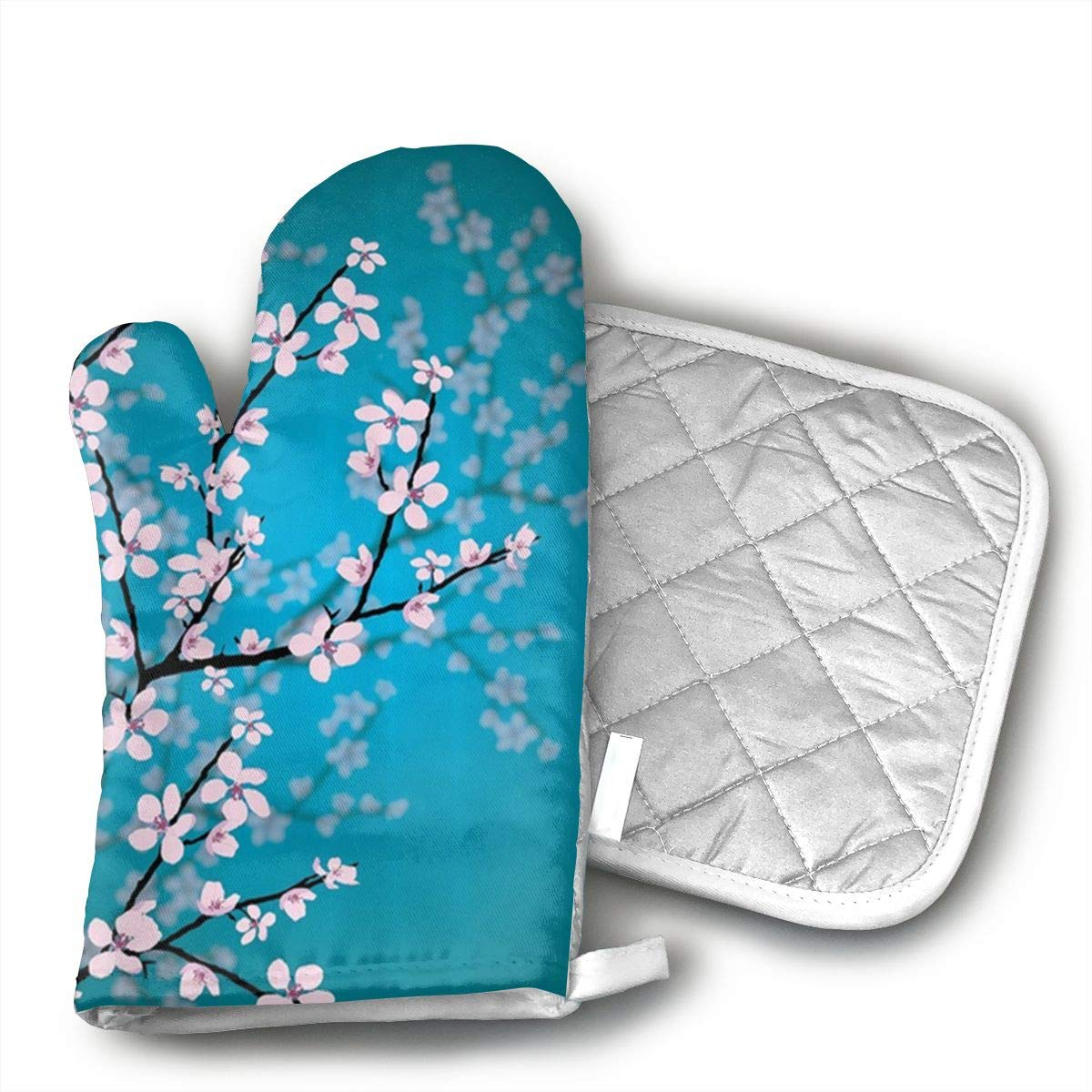 Unisex Oven Mitt and Pot Holder for Teal Shower Curtain Pink Blossoms Decor,Leaves and Plants Ombre Spring Japanese Sakura Flowers in Garden Park, Fabric Bathroom Decorations, with Hooks - 2 Pair