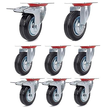 4 ruedas 75 mm + 4 ruedas con freno 75 mm, ruedas de transporte carga pesada ...