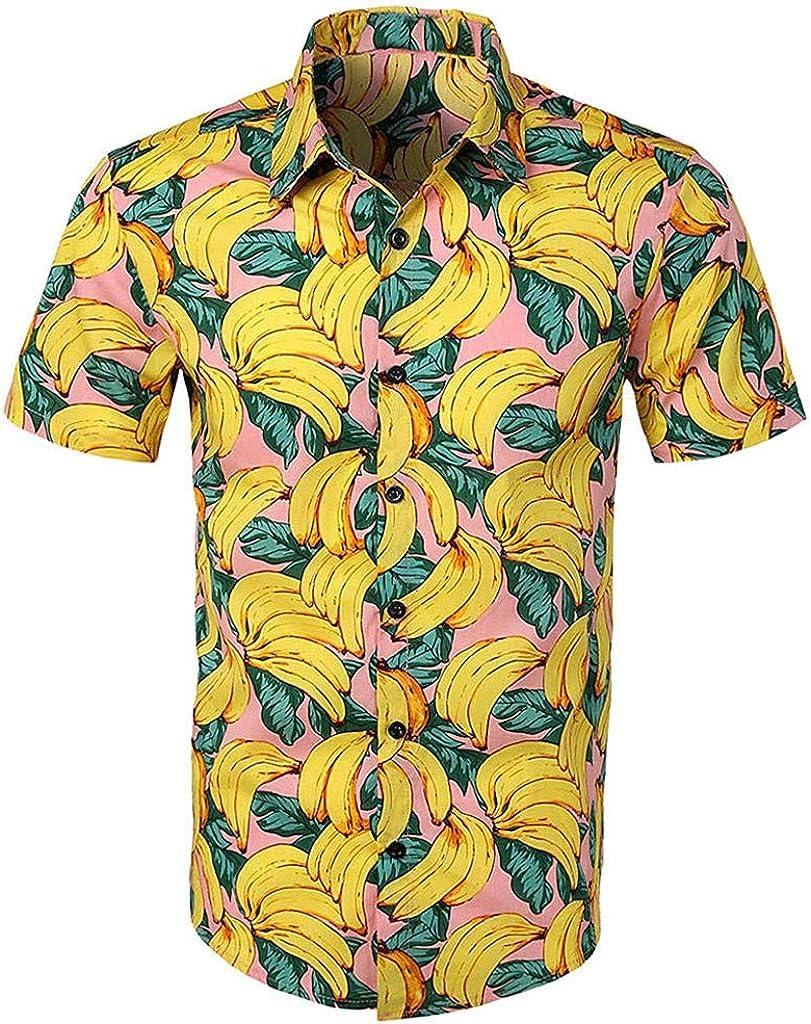 Solike T-Shirt Homme /Ét/é Chemise /à Manches Courtes Col Revers Imprim/é Hawa/ïenne Casual Loisirs Tee Blouse Tops de Plage Voyager
