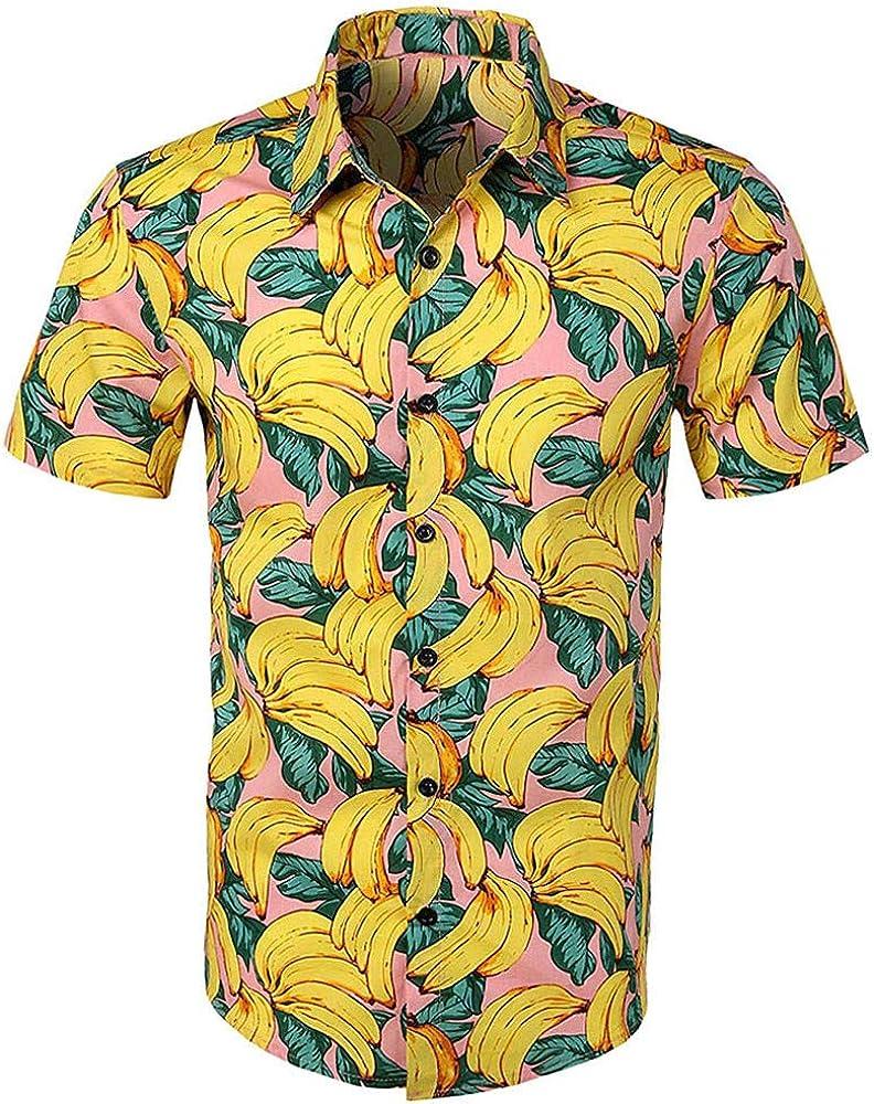 HULKY Camisas Hawaianas Hombre Camisas Hombre Manga Corta Camisas Estampadas Hombre Camisas de Flores Camisas Fiesta Camisas Playa Verano Vacaciones Tops Casual T Shirt Hombre(Amarillo, S): Amazon.es: Ropa y accesorios