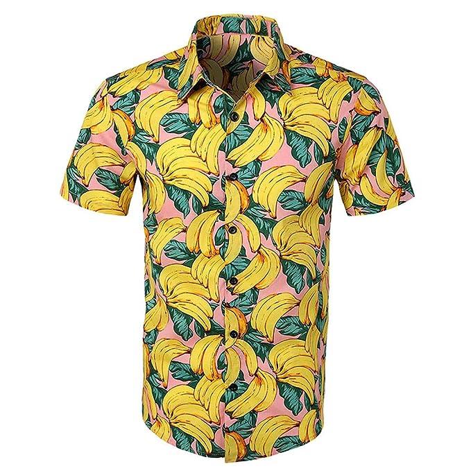 1efd124a2 Camisa de Solapa de Manga Corta con Estampado Hawaiano para Hombre ...
