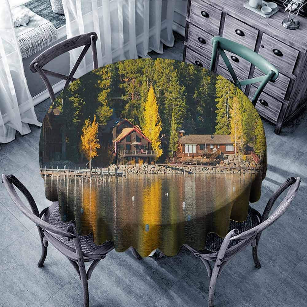 """HOMEDECORATIONS Dining Round Tablecloth Picnic Cloth Lake Tahoe,Carnelian Bay Photography Log Cabin in The Woods Holiday Destination Lakeside, Multicolor Diameter 60"""""""