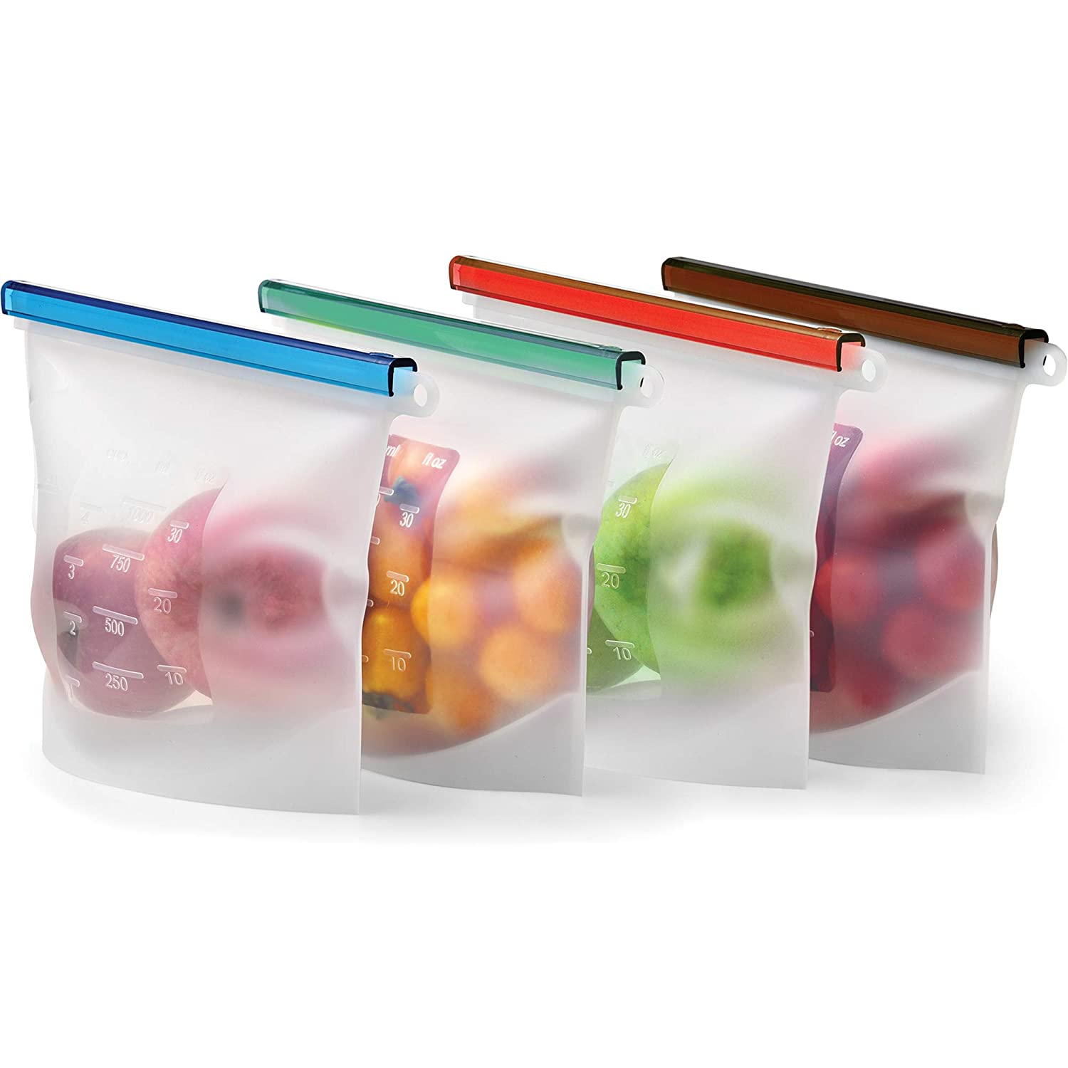 Reusable Silicone Food Storage Bag Set - 4 QUART Freezer Bags Airtight Seal - Hermetic Produce Storage Bag - Cooking Sous Vide Bags Clear - Ziplock Bags for Lunch & Snack - Sandwich Bag Kiva.World