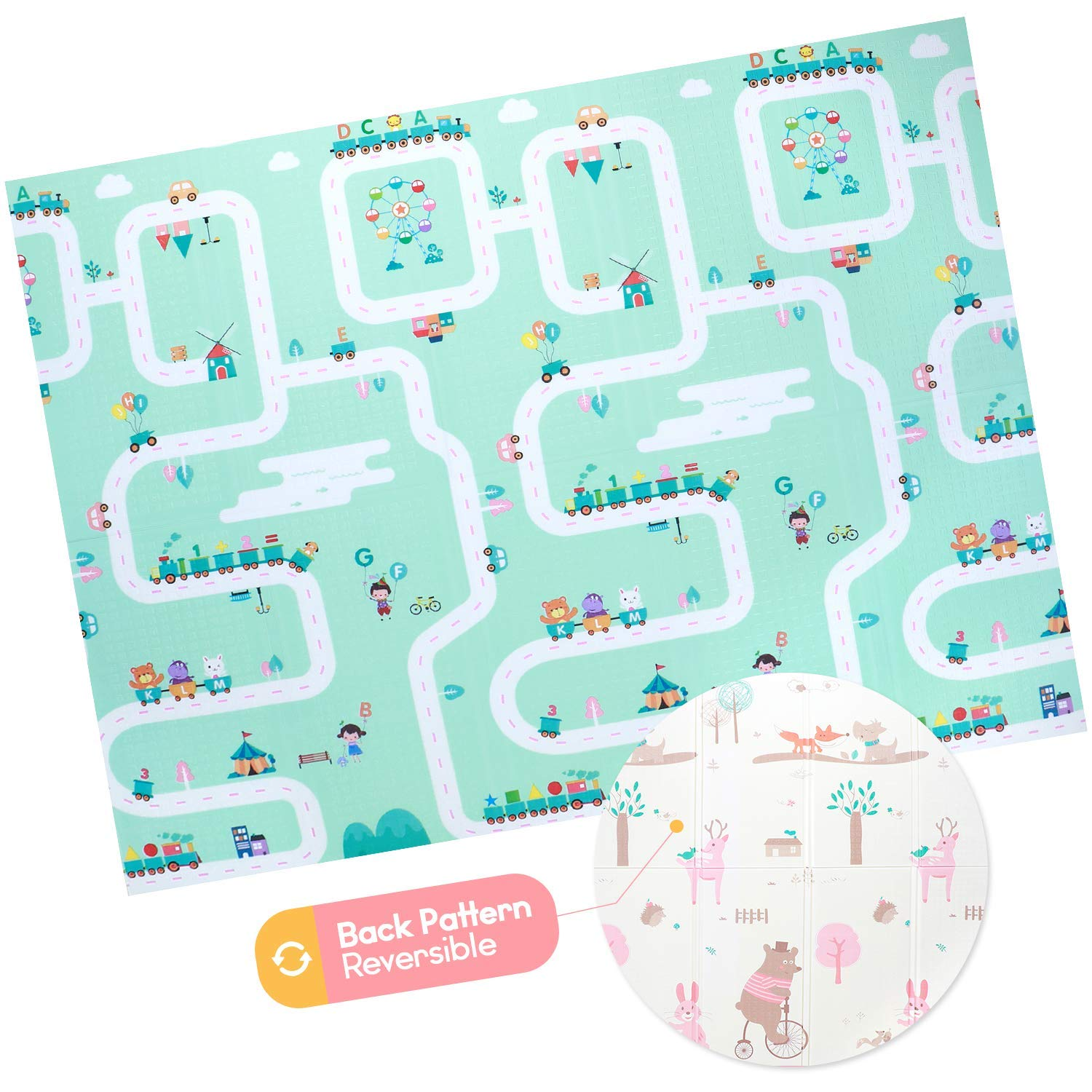 Baby Foam Play Mat - Foldable, Waterproof, Reversible Playmat for Toddlers and Kids Ashtonbee