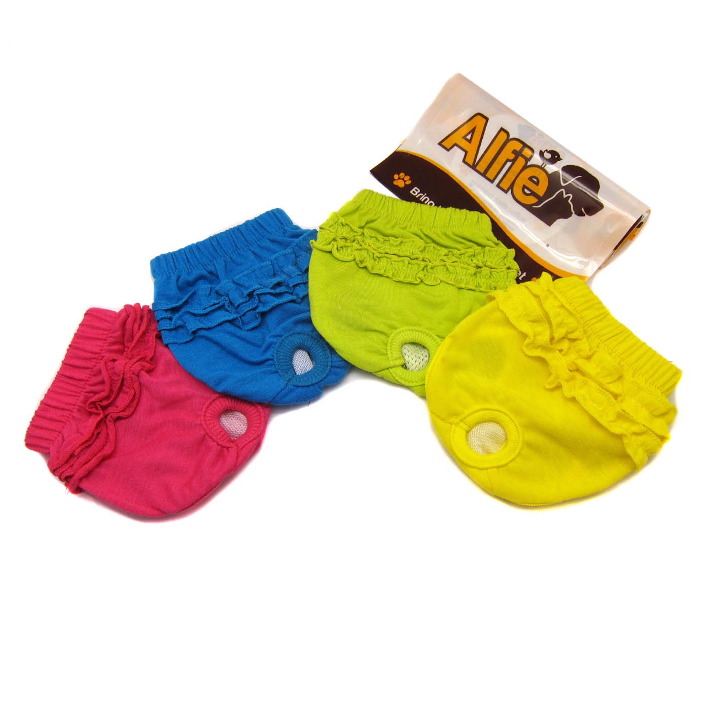 4-piece Set without Microfiber Washcloth Small 4-piece Set without Microfiber Washcloth Small Alfie Pet BAMI Diaper Dog Sanitary Pantie 4-Piece Set Size  S (for Girl Dogs)