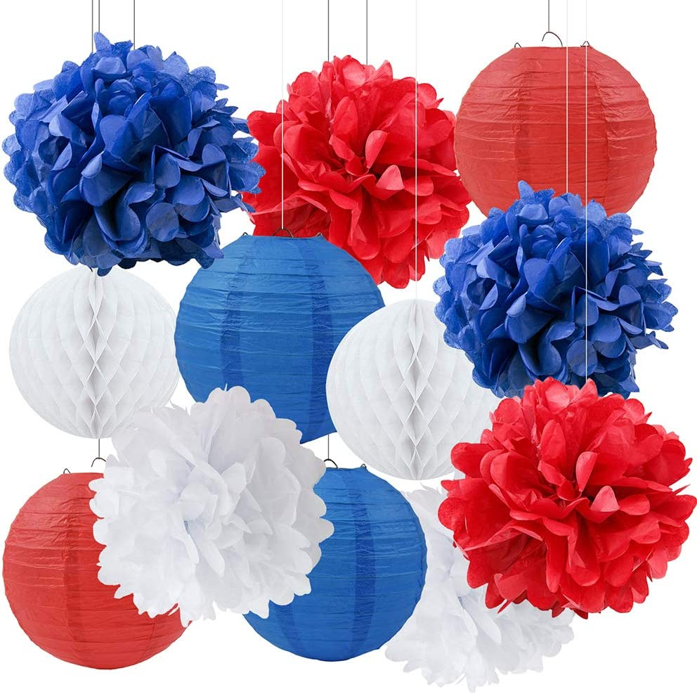 4th of July Party Patriotic Decor Nautical Party Decor Navy Blue White Red Tissue Pom Poms Paper Lanterns Paper Honeycomb Ball for Independence Day Party Captain America Party Ahoy Baby Shower Party
