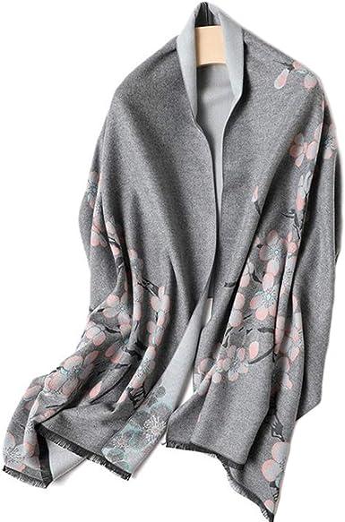 MESHIKAIER 190x65cm Otoño Invierno Mujer Chal de Imitación Cachemira Largo Suave Bufanda Estola Pashmina Cálido y Grueso Patrón de Flor