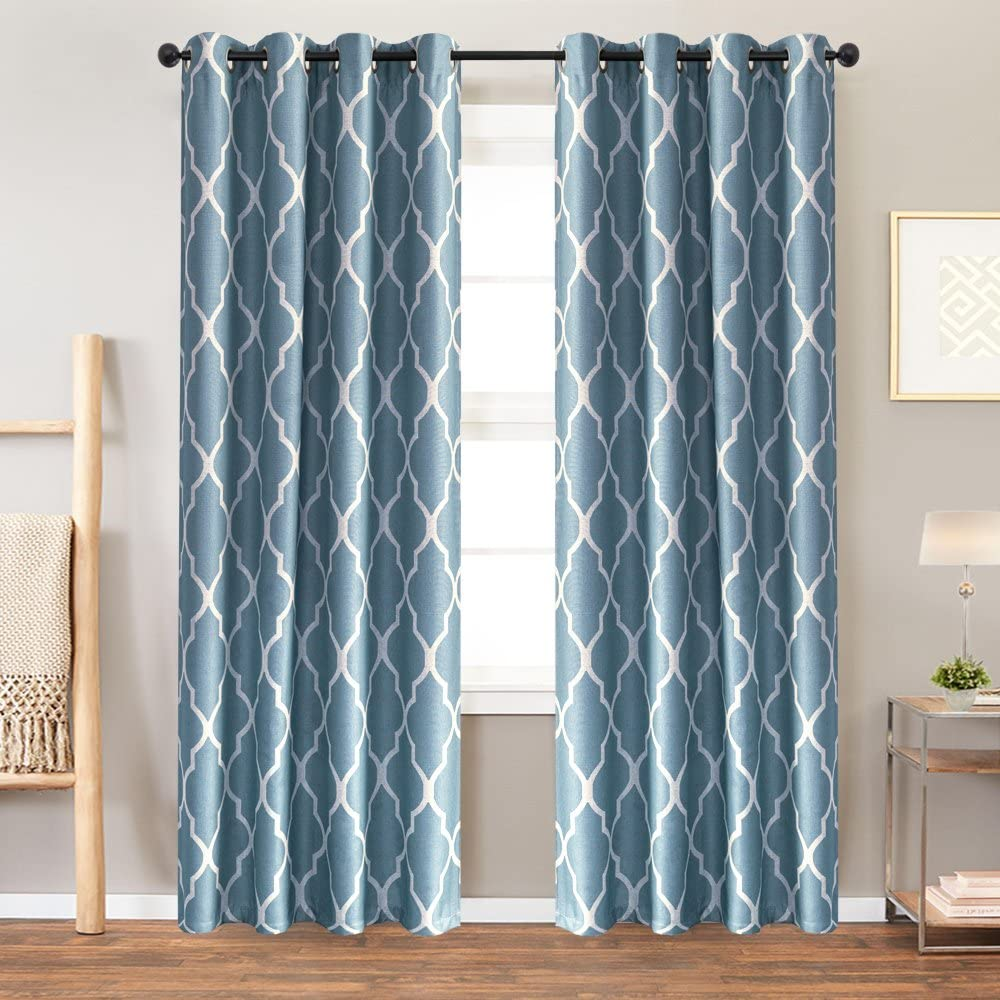Blue Curtains 84 inch Moroccan Tile Print Curtains for Living Room Darkening Curtains Linen Textured Window Curtain Panels for Bedroom Window Treatment Set, Grommet Top, 2 Panels