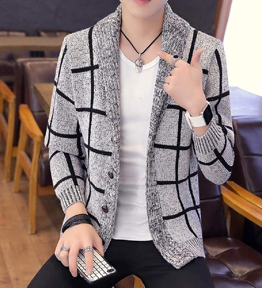 Mens Knit Cardigan Sweater Check Plaid Fashion Outerwear