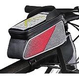 ROTTO トップチューブバッグ 自転車 バッグ フレームバッグ 防水 タッチスクリーン操作可能 レインカバー付き