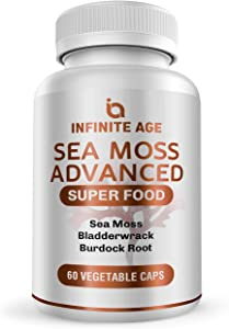 Infinite Age: Sea Moss Advanced - High-Potency Vegan Superfood with Bladderwrack and Burdock Root - 60 Capsules - Overall Health and Immunity Support - Made in The USA - Purity Transparency