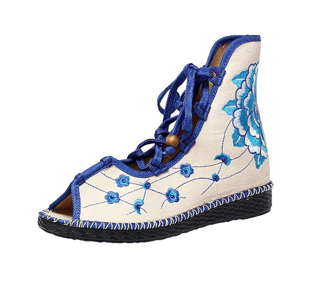 Kool Classic Women's Embroidery Open Toe Lace-up Gladiator Roman Flats Sandal B06XW6YHY4 40 M EU=8.5 B(M) US|Flower2 Blue