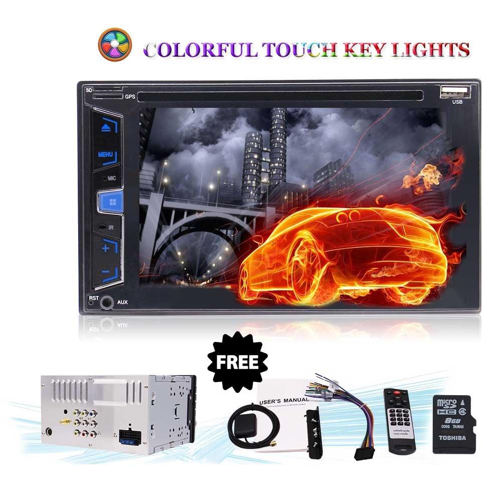 6.2インチHDのBluetoothスタイリッシュなUIマルチ照明付きダッシュナビゲーションサポートFM/AM/USB/SWC/SD/サブウーファー/DVDプレーヤー/バックアップカメラにタッチスクリーンカーステレオラジオダブルDINヘッドユニット B079K89175