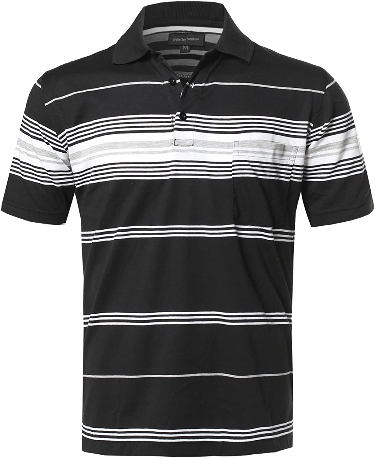 Style by William Mens Casual Striped Short Sleeves Three-Button Polo T-Shirt