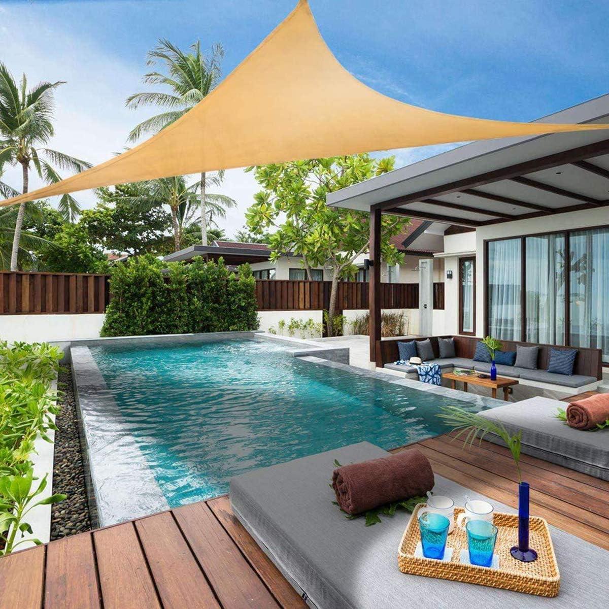 Beige Toldo Vela de Sombra 2x2m Vela Sombra Impermeable Exteriores Accesorios de MontajeTodo Inclu/ído para Jardin Terraza Patio Gris