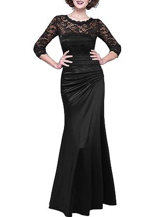 Schwarzes langes abendkleid mit spitze
