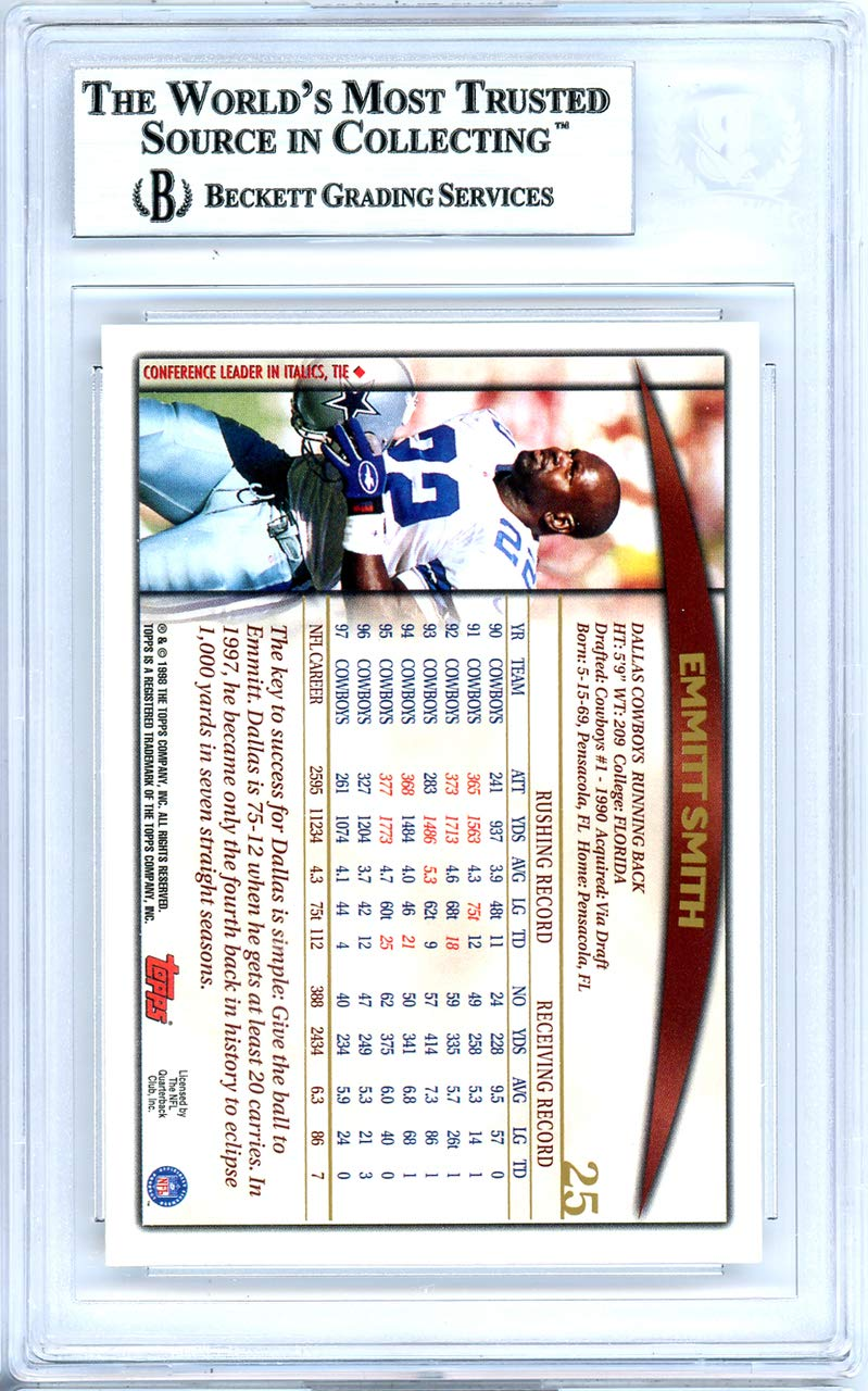 3291e51b3d9 Emmitt Smith Autographed 1998 Topps Card Autographed #25 Dallas Cowboys - Beckett  Authentic at Amazon's Sports Collectibles Store
