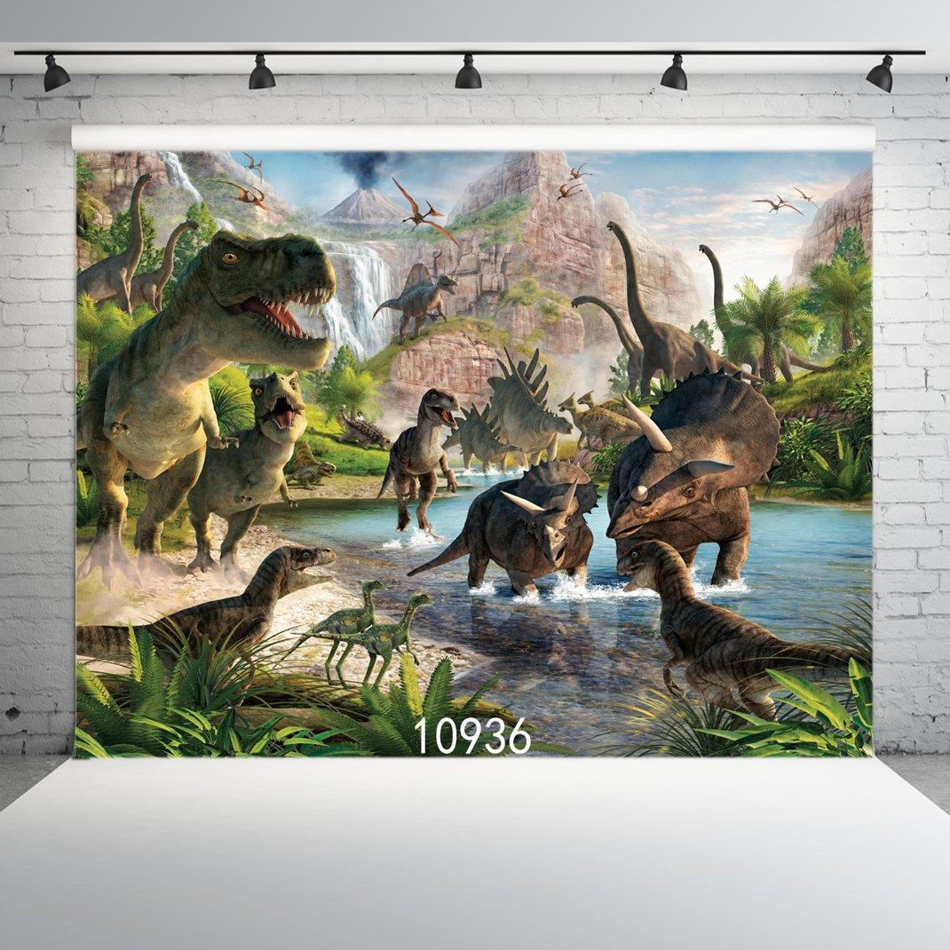 SJOLOON 7X5ft Dinosaur Vinyl Photography Backgrounds 3d Backdrops for Children Kids Adult Portrait Photo Studio Props 10936 by SJOLOON