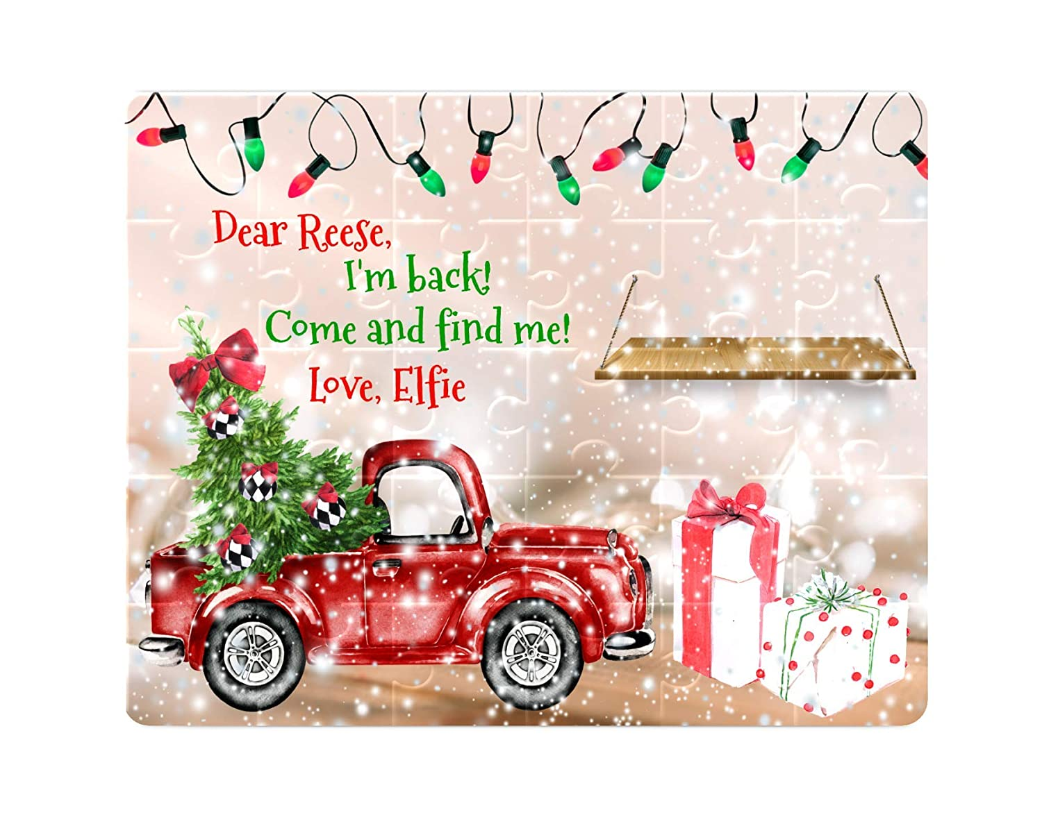 Personalized Puzzle Red Truck with Christmas Lights Educational Name Puzzle Christmas Elf Puzzle Kid Gift Childrens Custom Puzzle