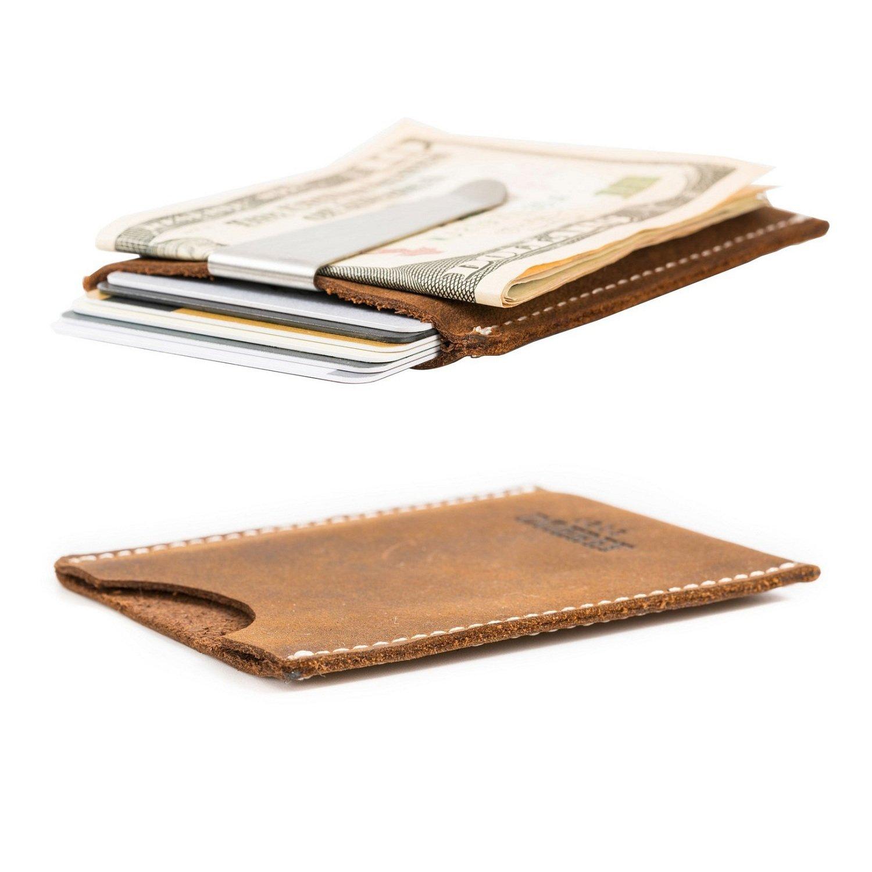 DUEBEL Handmade Card Case Wallet, Leather Money Holder & Organizer Thin Front Pocket Wallet Brown (DBL08)